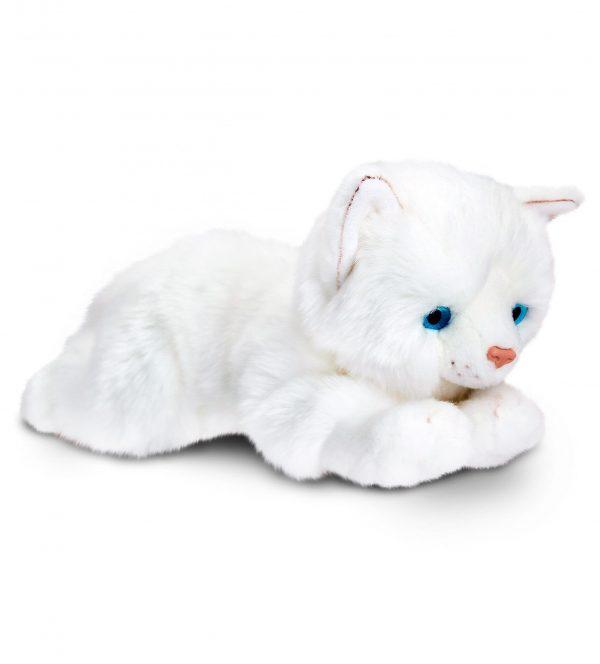 Plyšová biela mačka
