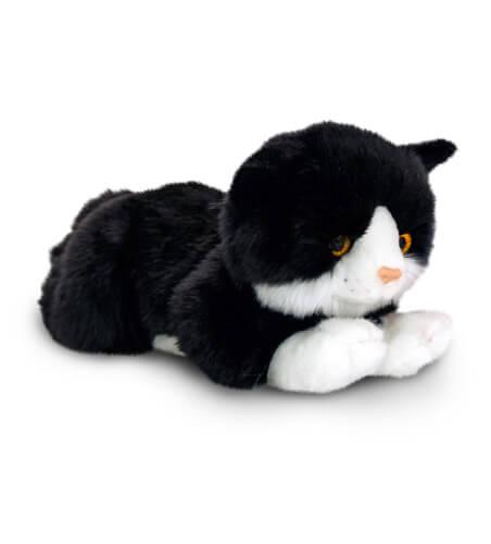 Plyšová čierno-biela mačka